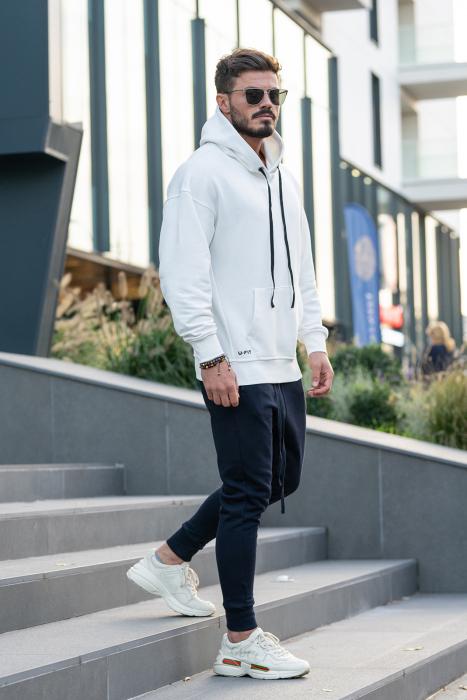 Set Easy-Fit hanorac imprimat si pantalon conic White/Navy [6]