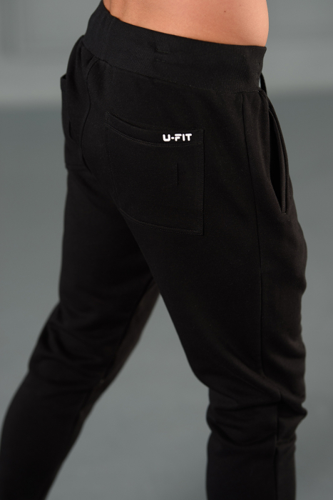 Set Kali-Fit hanorac si pantalon conic cu tur lasat Off White/Black [11]