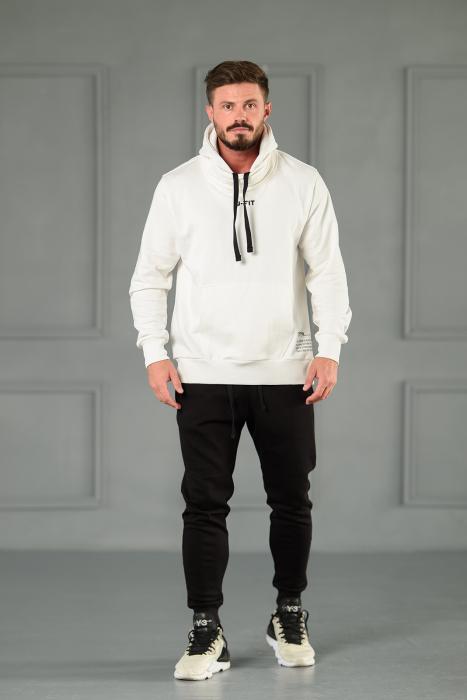 Set Kali-Fit hanorac si pantalon conic cu tur lasat Off White/Black [2]