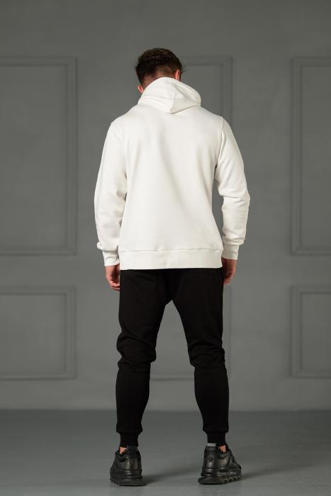 Set Kali-Fit II hanorac imprimat si pantalon conic cu tur lasat Off White/Black [4]