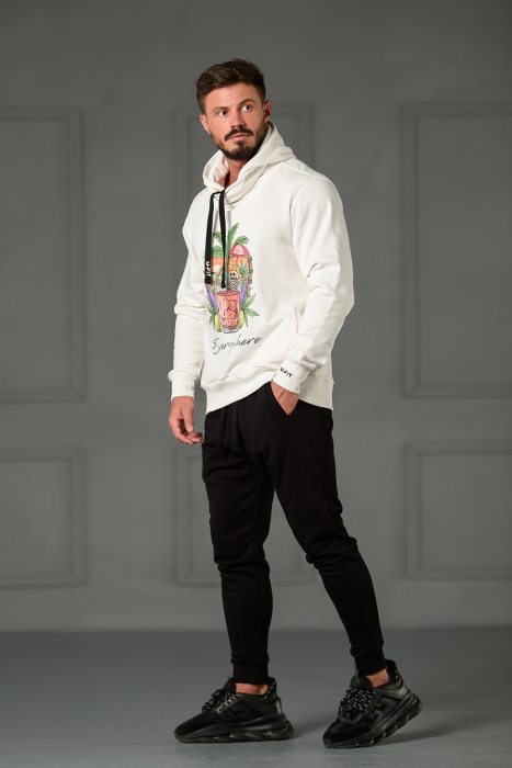 Set Kali-Fit II hanorac imprimat si pantalon conic cu tur lasat Off White/Black [3]