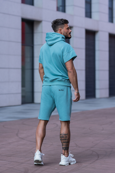 Set Malibu hanorac si pantalon scurt Dusty Turquoise [5]