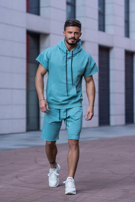 Set Malibu hanorac si pantalon scurt Dusty Turquoise [2]