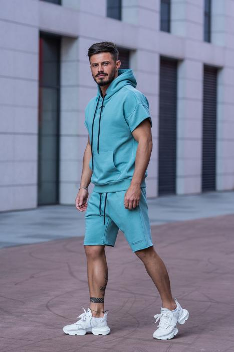 Set Malibu hanorac si pantalon scurt Dusty Turquoise [3]