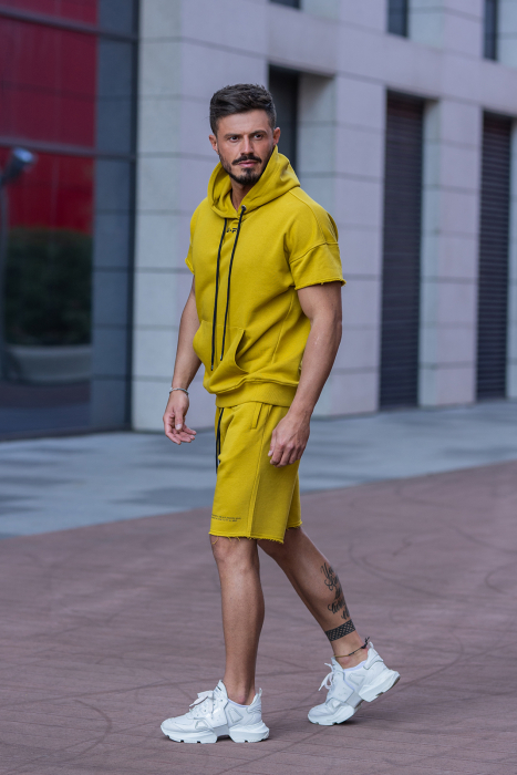 Set Malibu hanorac si pantalon scurt Mustard [4]