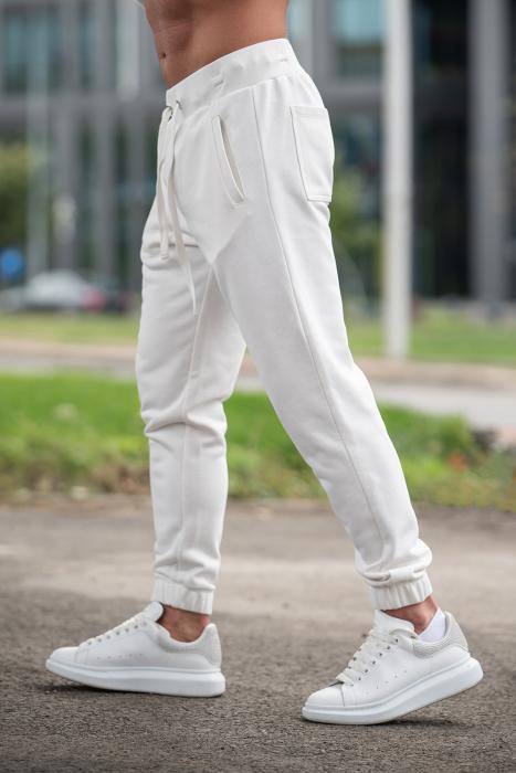 Set Rock-Fit hanorac cu fermoar si pantalon conic Off White [7]