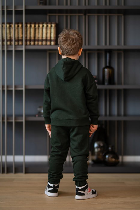 Set Rock-Fit Kids hanorac si pantalon dark green [6]