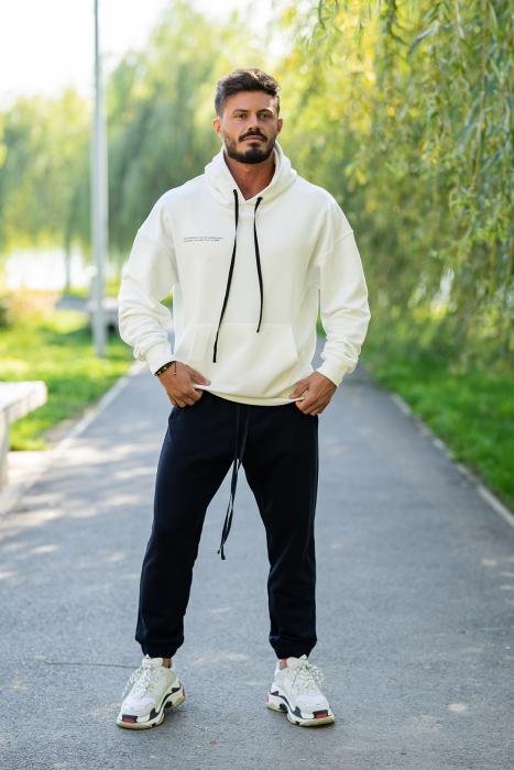 Set Easy-Fit hanorac si pantalon Oversized White/Navy [0]