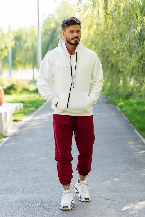 Set Easy-Fit hanorac oversized si pantalon White/Bordeaux [0]