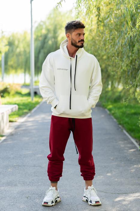 Set Easy-Fit hanorac oversized si pantalon White/Bordeaux [1]