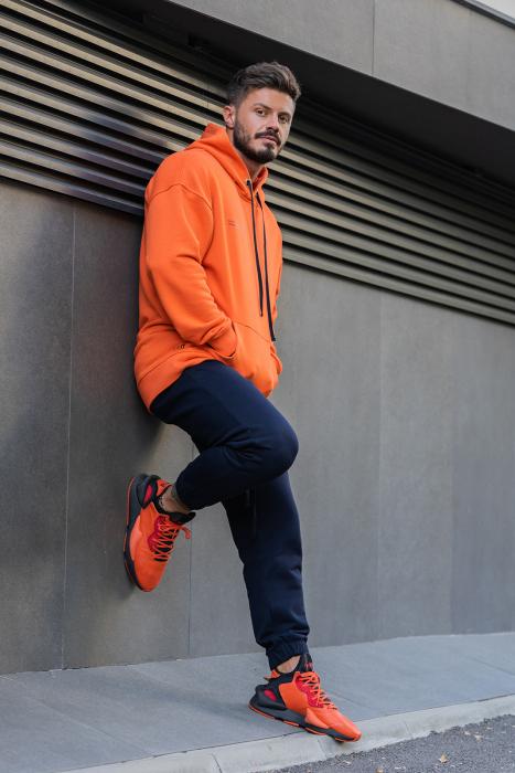 Set Easy-Fit hanorac si pantalon Oversized Orange/Navy [2]