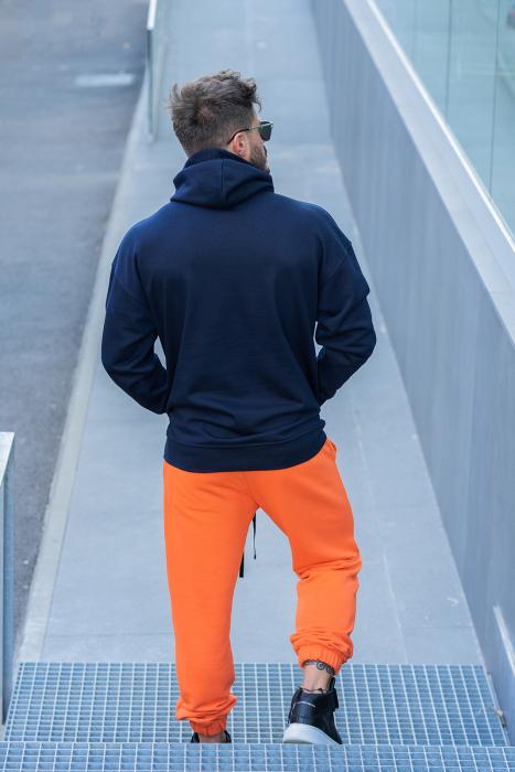 Set Easy-Fit hanorac si pantalon Oversized bleumarin/portocaliu [1]