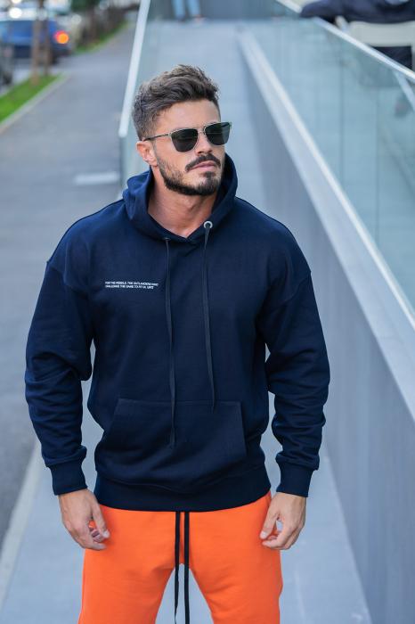 Set Easy-Fit hanorac si pantalon Oversized bleumarin/portocaliu [2]