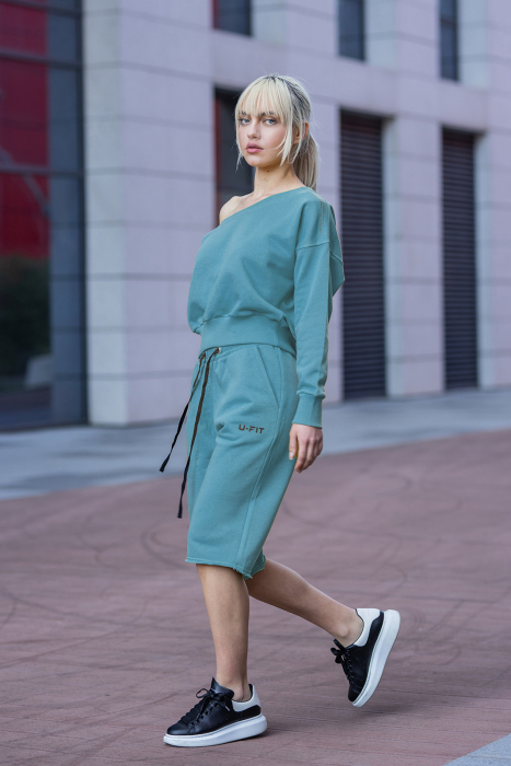 Set Undone Bluza si Pantalon Scurt Dusty Turquoise [3]