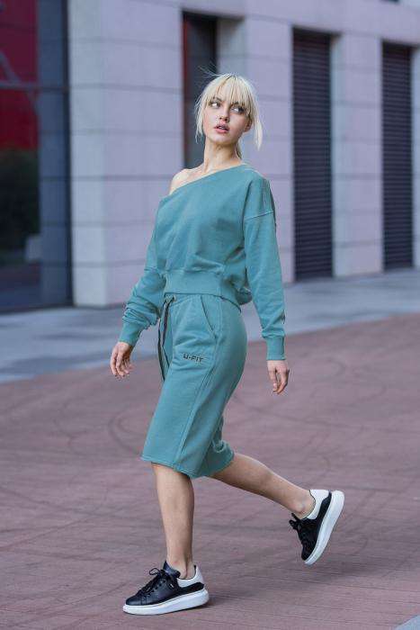 Set Undone Bluza si Pantalon Scurt Dusty Turquoise [0]