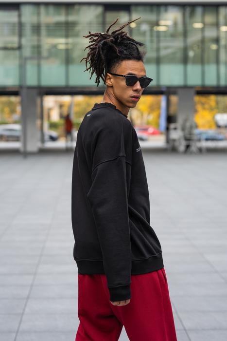 Set West Cartel Bluza Oversized si Pantalon lejer Black/Bordeaux [8]