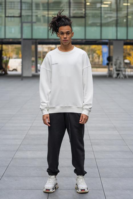 Set West Cartel Bluza Oversized si Pantalon lejer alb/negru [0]