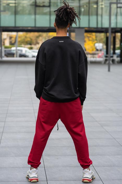 Set West Cartel Bluza Oversized si Pantalon lejer Black/Bordeaux [2]