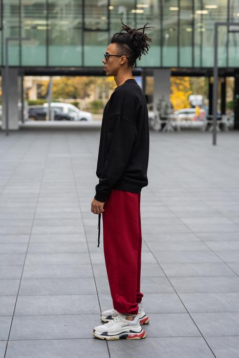 Set West Cartel Bluza Oversized si Pantalon lejer Black/Bordeaux [3]