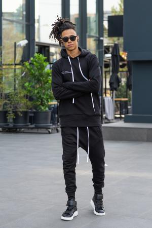 Pantalon cu turul lasat negru [4]