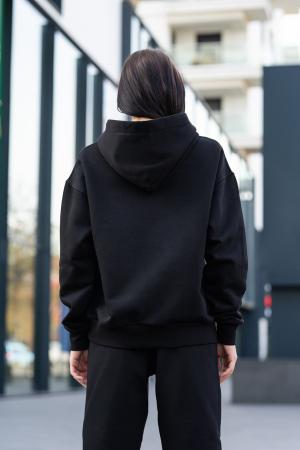 Hanorac Oversized Easy-Fit Imprimat Black [3]
