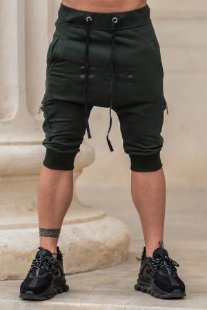 Pantalon Scurt Cargo conic cu turul lasat dark green [0]