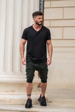 Pantalon Scurt Cargo conic cu turul lasat dark green [7]