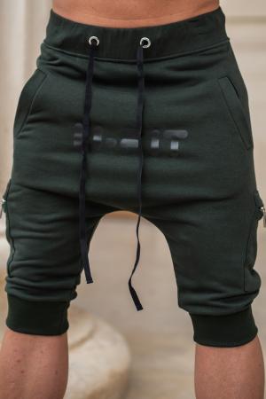 Pantalon Scurt Cargo conic cu turul lasat dark green [6]