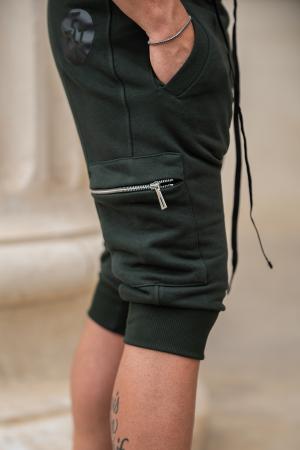 Pantalon Scurt Cargo conic cu turul lasat dark green [4]