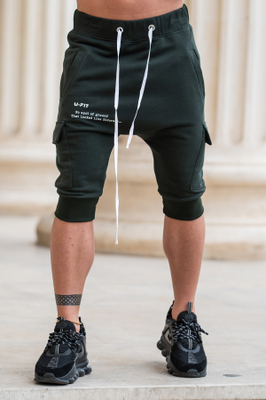 Pantalon Scurt Cargo cu turul lasat Dark Green [0]