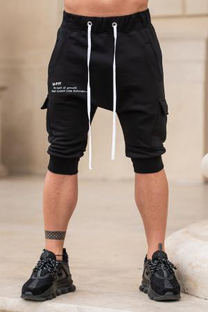 Pantalon Scurt Cargo cu turul lasat Black [0]