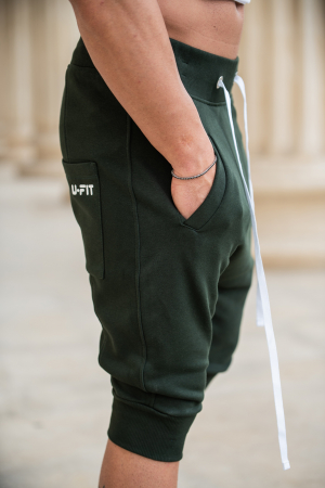 Pantalon scurt cu tur lasat Dark Green [4]