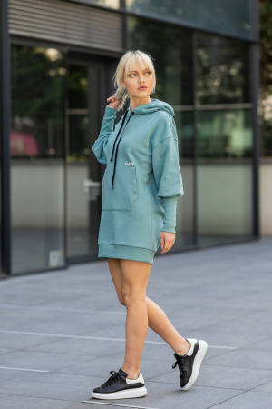 Rochie So Kate din Bumbac cu Gluga Dusty Turquoise [6]