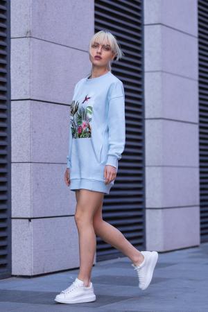 Rochie Kate din Bumbac fara gluga Sky Blue [1]