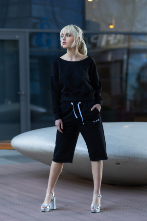 Set Undone Bluza si Pantalon Scurt Black [3]