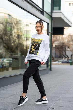 Set bluza imprimata si pantalon Oversized Easy-Fit Off White/Black [2]