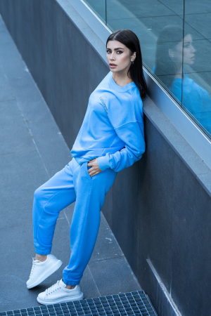 Set Easy-Fit bluza si pantalon Oversized  Aqua Blue [0]