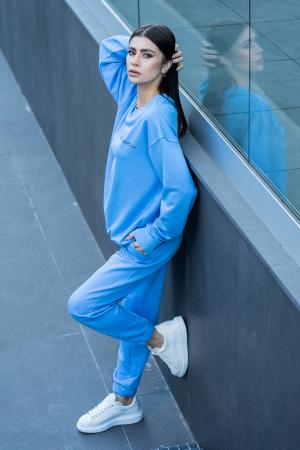 Set Easy-Fit bluza si pantalon Oversized  Aqua Blue [5]