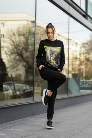 Set Easy-Fit bluza imprimata si pantalon Oversized Black [2]