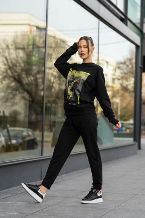 Set Easy-Fit bluza imprimata si pantalon Oversized Black [5]
