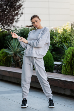 Set Easy-Fit bluza oversized si pantalon Grey [0]