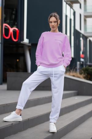 Set Easy-Fit bluza si pantalon Oversized Rose/Off White [2]