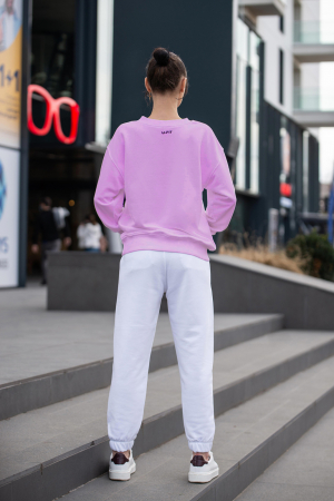 Set Easy-Fit bluza si pantalon Oversized Rose/Off White [5]