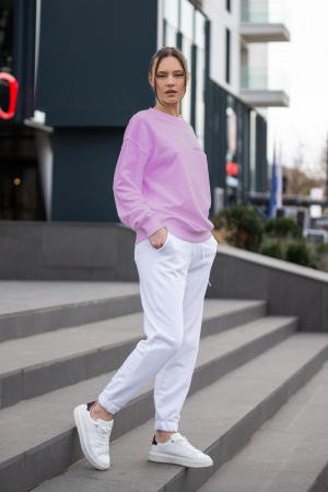 Set Easy-Fit bluza si pantalon Oversized Rose/Off White [8]