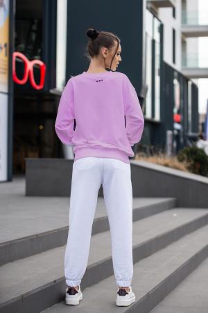 Set Easy-Fit bluza si pantalon Oversized Rose/Off White [3]