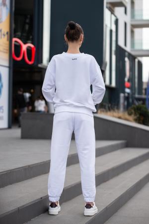 Set Easy-Fit bluza si pantalon Oversized Off White [2]
