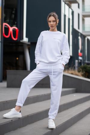 Set Easy-Fit bluza si pantalon Oversized Off White [0]