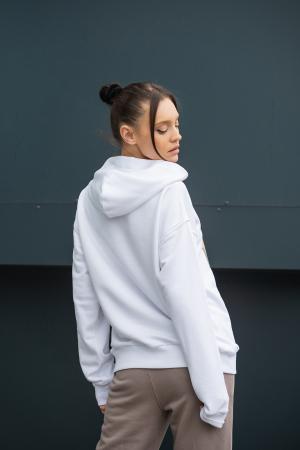 Hanorac imprimat Oversized Easy-Fit Off White [2]