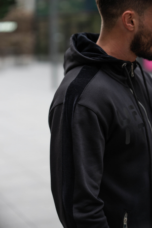 Set Cotton Blend hanorac si pantalon conic all black [7]