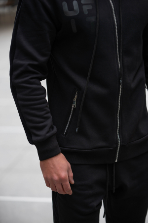 Set Cotton Blend hanorac si pantalon conic all black [6]